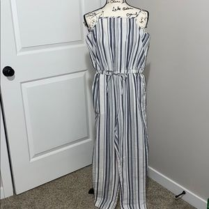 CI SONO Linen Striped Spaghetti Strap Jumpsuit